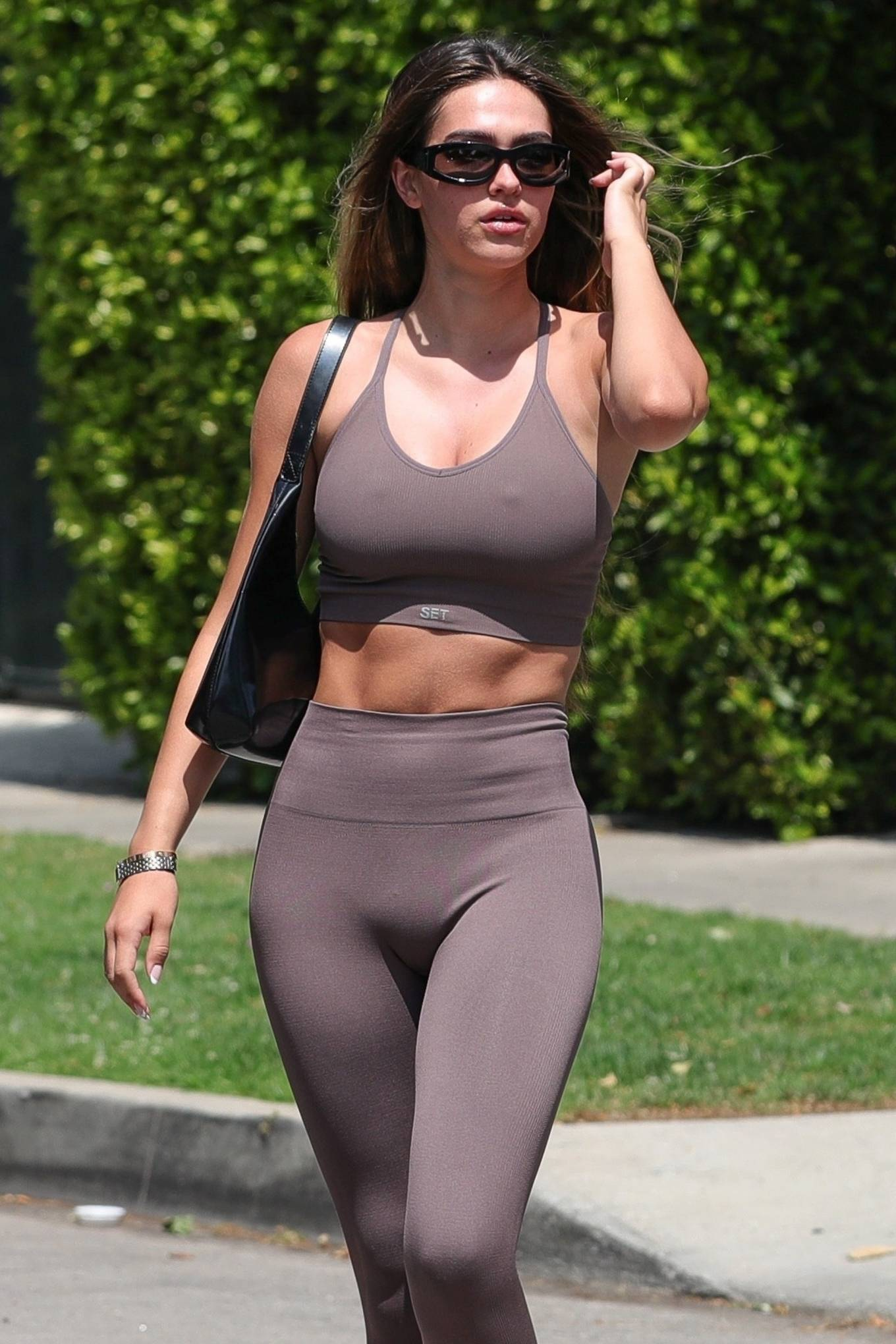 Amelia Gray Hamlin - In SETactive workout wear and Yeezy slides in West Hollywood