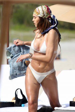 Amelia Hamlin - In a white bikini on the beach on Valentine's Day in Miami
