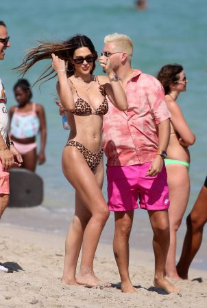 Amelia Hamlin - In animal print bikini in Miami