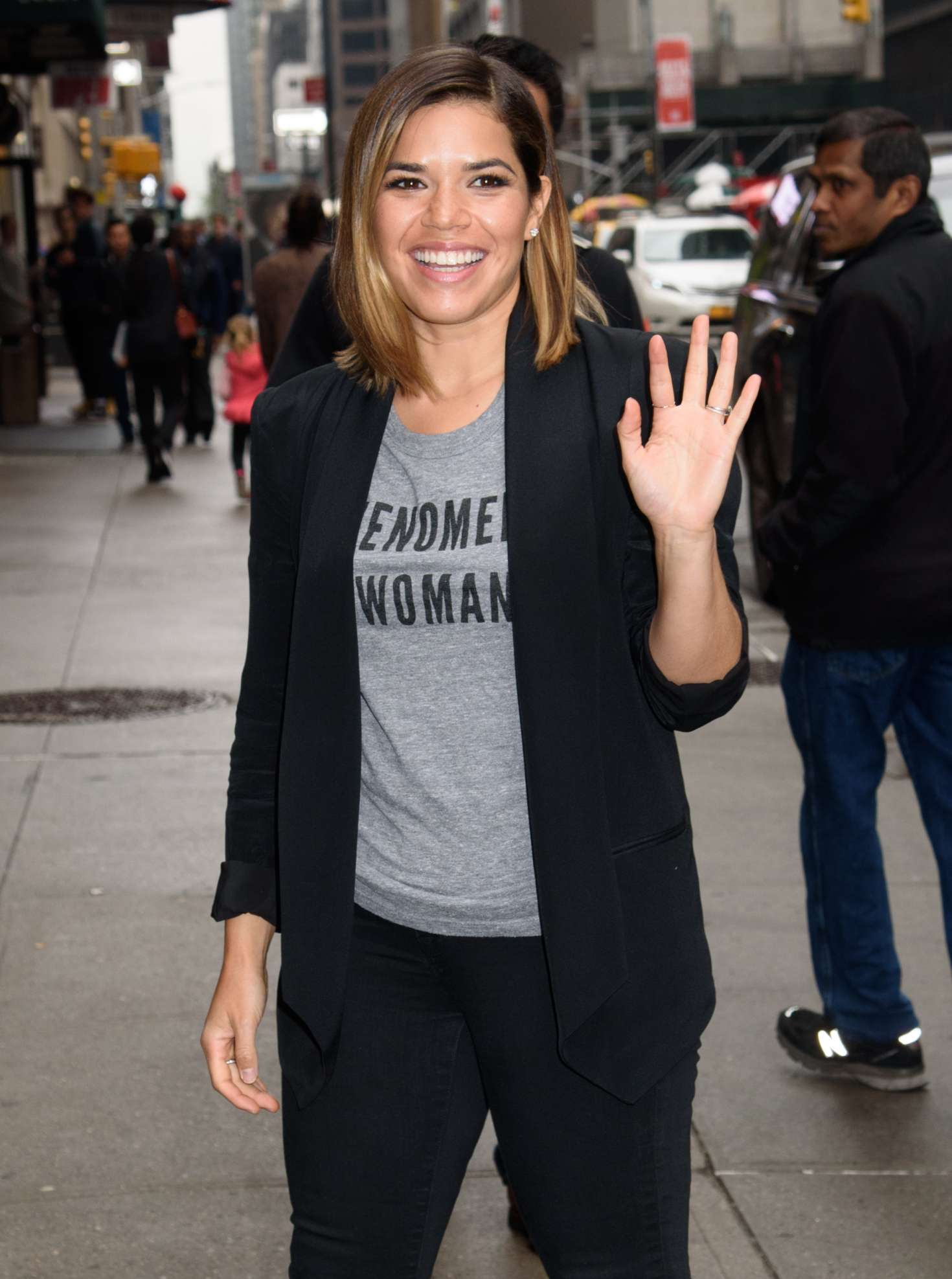 America Ferrera Arrives at 'The Late Show with Stephen Colbert' in NY