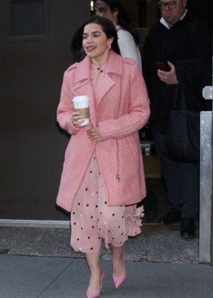 America Ferrera in Pink – Arrives at Today Show in NYC