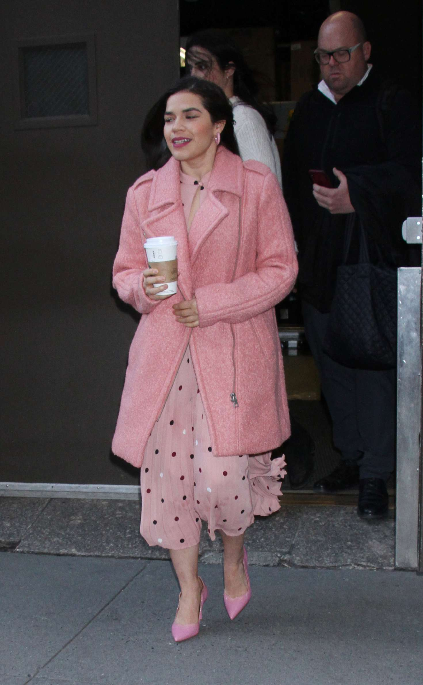 America Ferrera in Pink - Arrives at Today Show in NYC