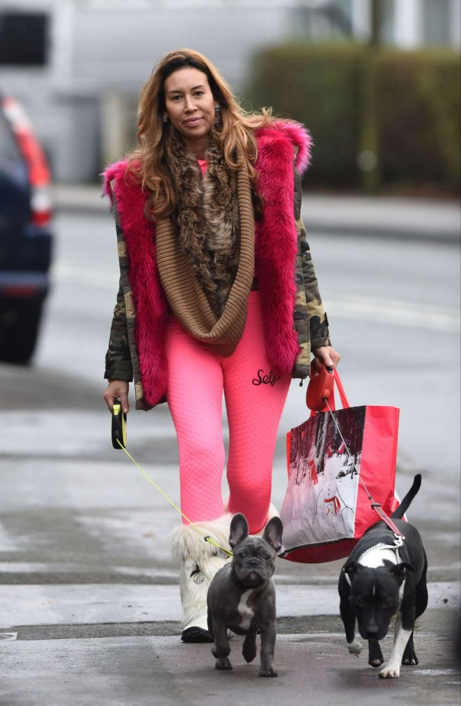 Ampika Pickston in Pink walking her dogs in Cheshire