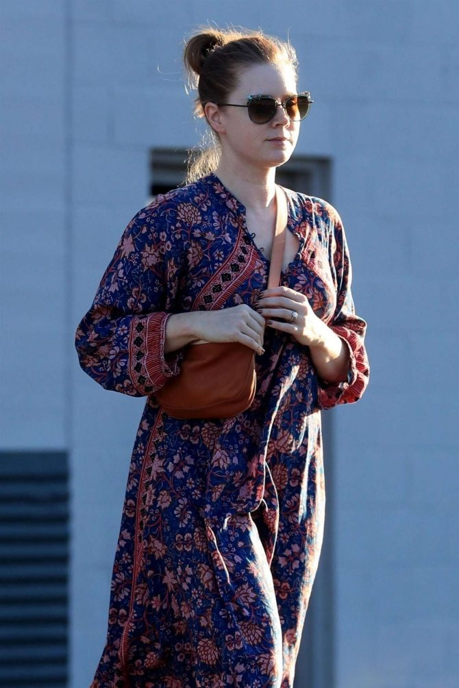Amy Adams in Floral Print Dress - Out in Beverly Hills
