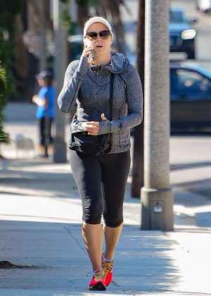 Amy Adams in Tights out walking in LA
