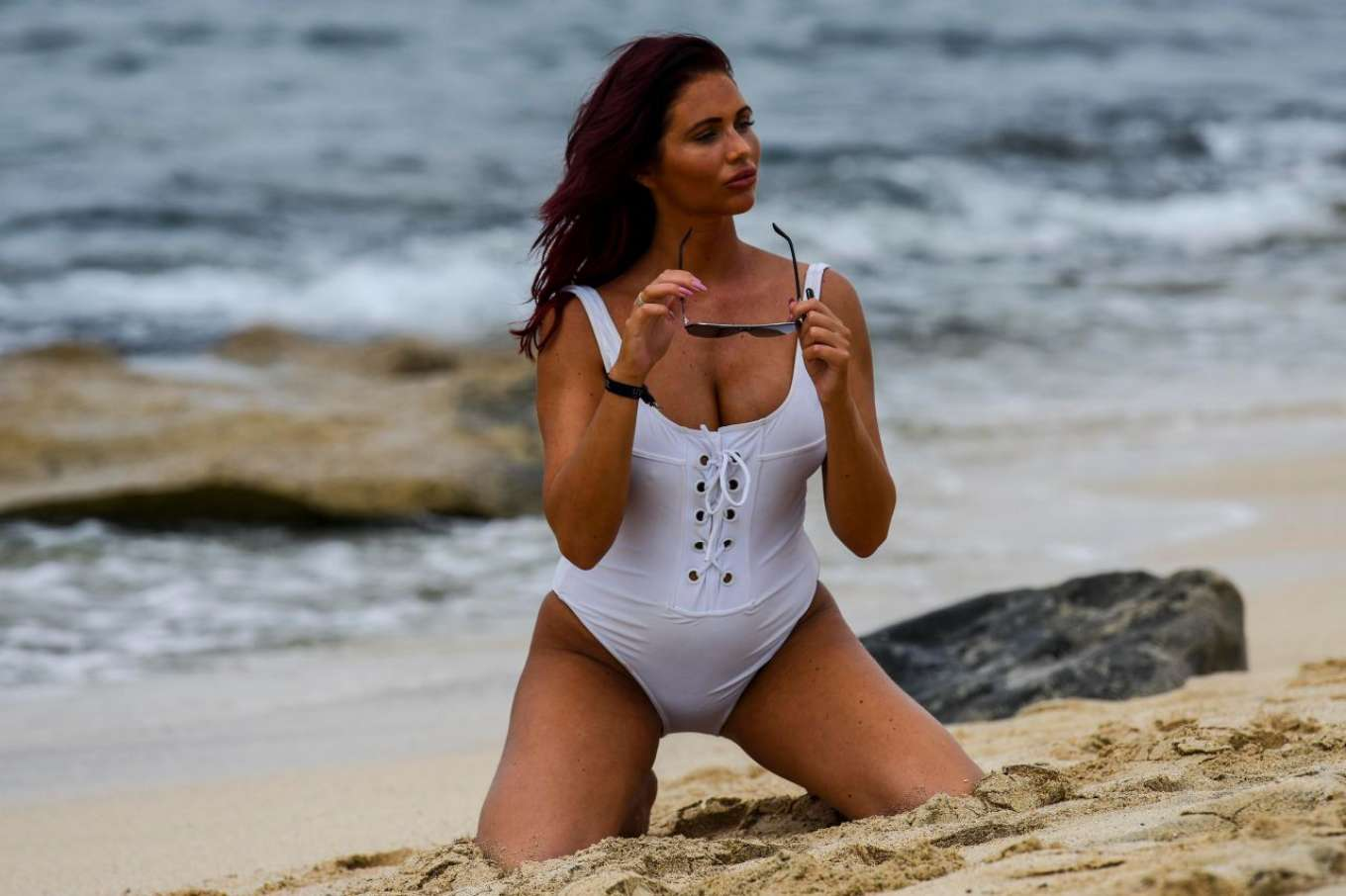 Amy Childs 2017 : Amy Childs in a White Swimsuit 2017 -03