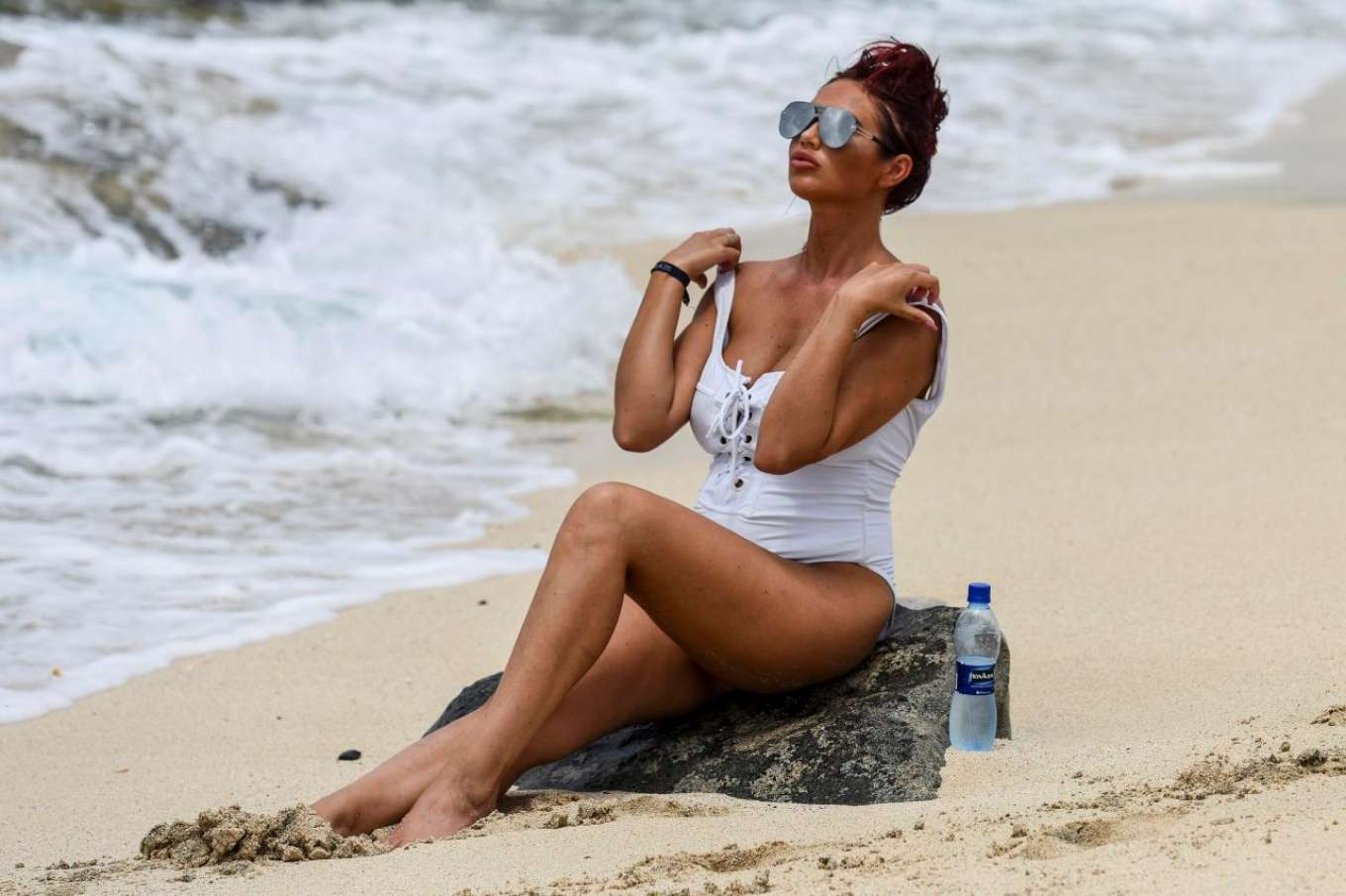 Amy Childs 2017 : Amy Childs in a White Swimsuit 2017 -04