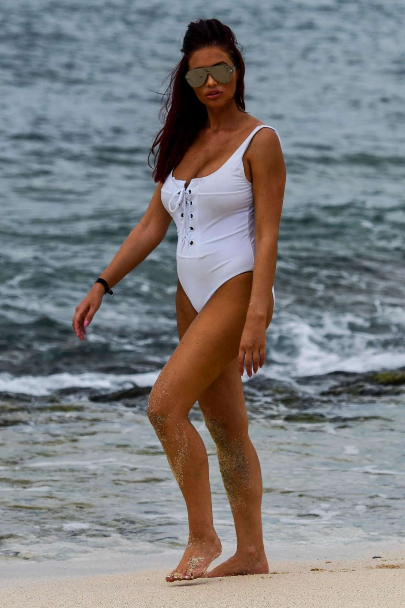 Amy Childs 2017 : Amy Childs in a White Swimsuit 2017 -05