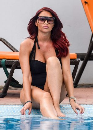 Amy Childs in Black Swimsuit in Cape Verde