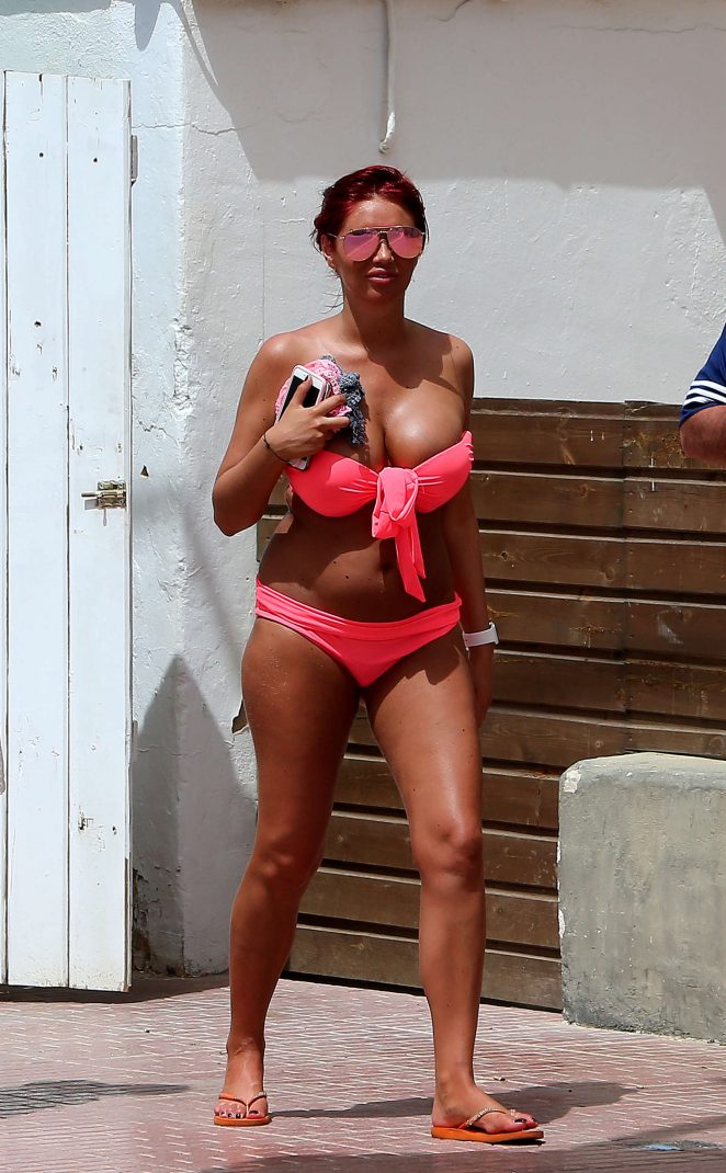 Amy Childs in Pink Bikini on vacation in Ibiza
