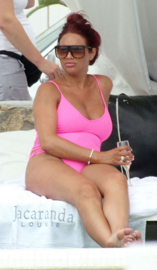 Amy Childs in Pink Swimsuit in Ibiza