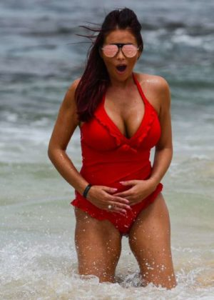 Amy Childs in Red Swimsuit at a beach in Cape Verde