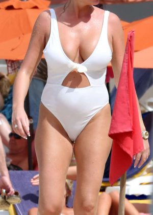 Amy Childs - In White Swimsuit at the beach in Barbados