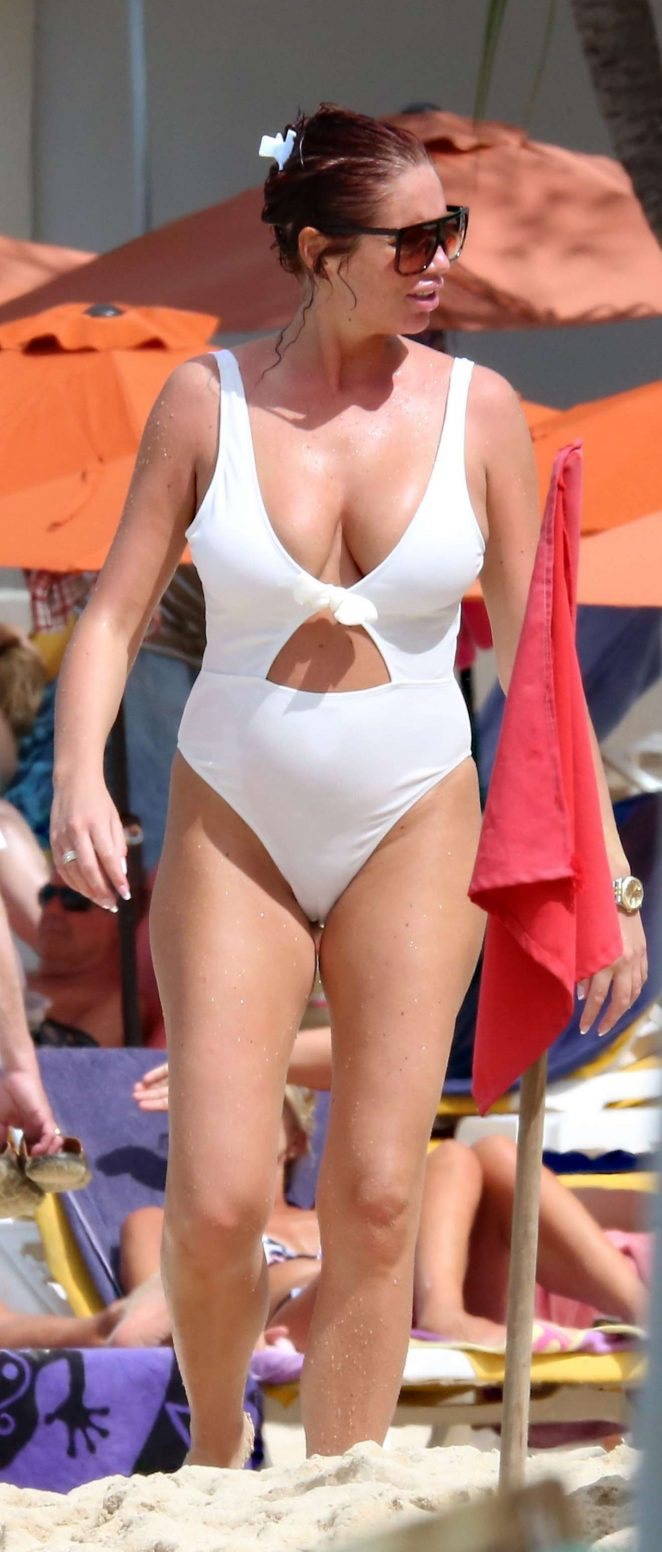 Amy Childs – In White Swimsuit at the beach in Barbados