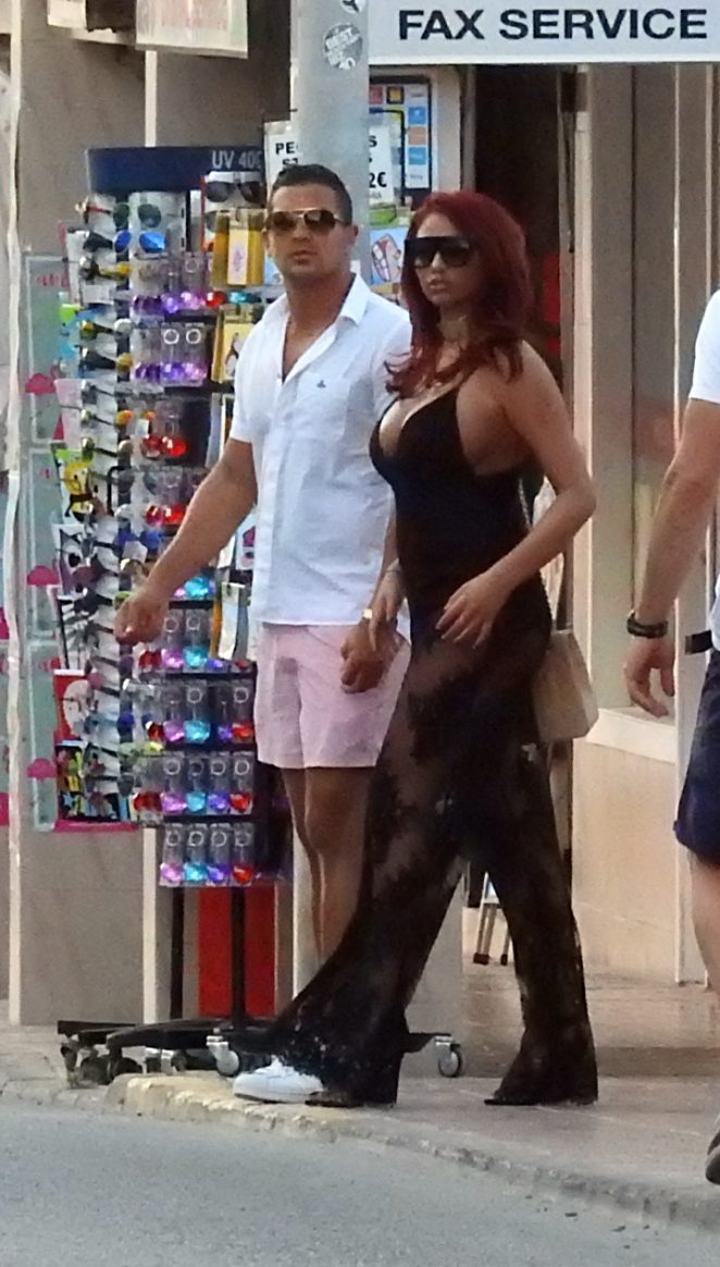 Amy Childs out in Ibiza