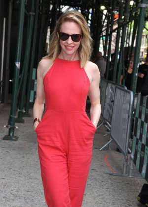 Amy Hargreaves in Red at the AOL Build Series in New York