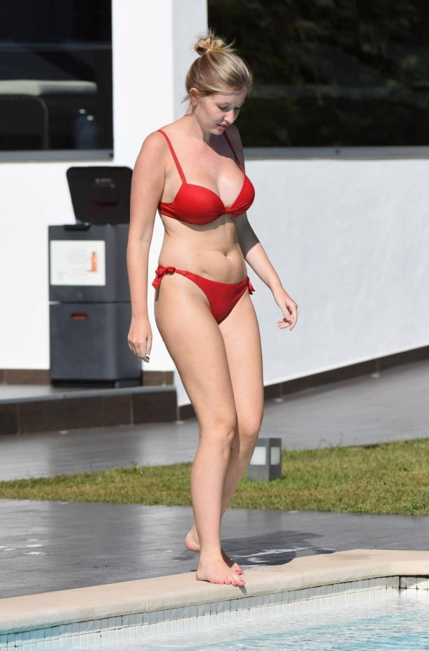 Amy Hart - In a red bikini in Portugal