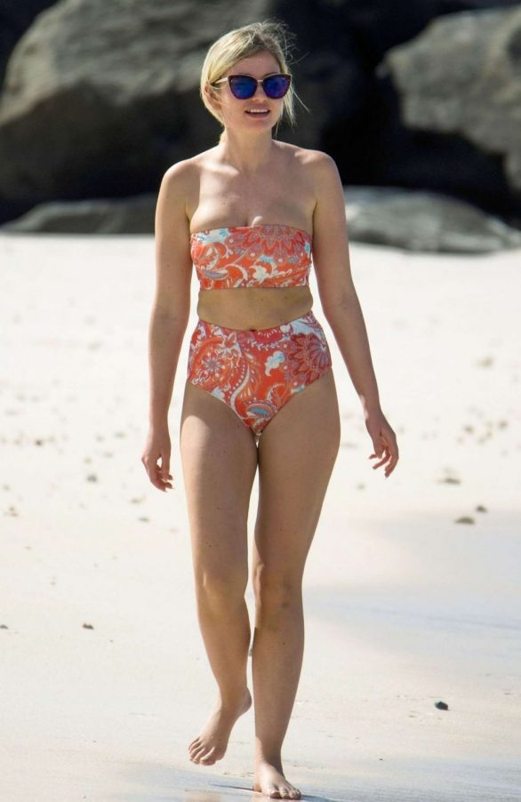 Amy Hart in Floral Bikini on the beach in Barbados