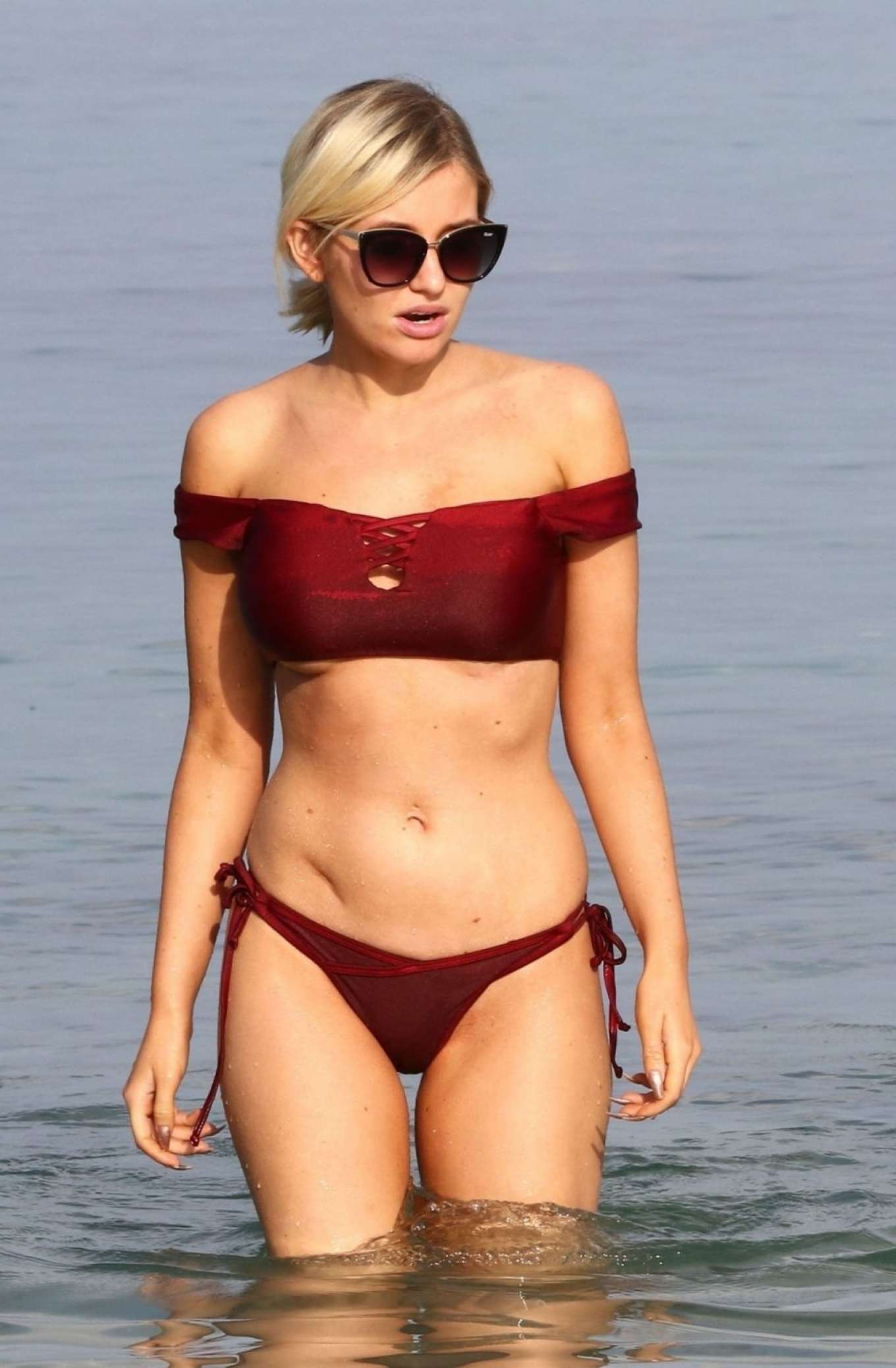 Amy Hart in Red Bikini on the beach in Ibiza