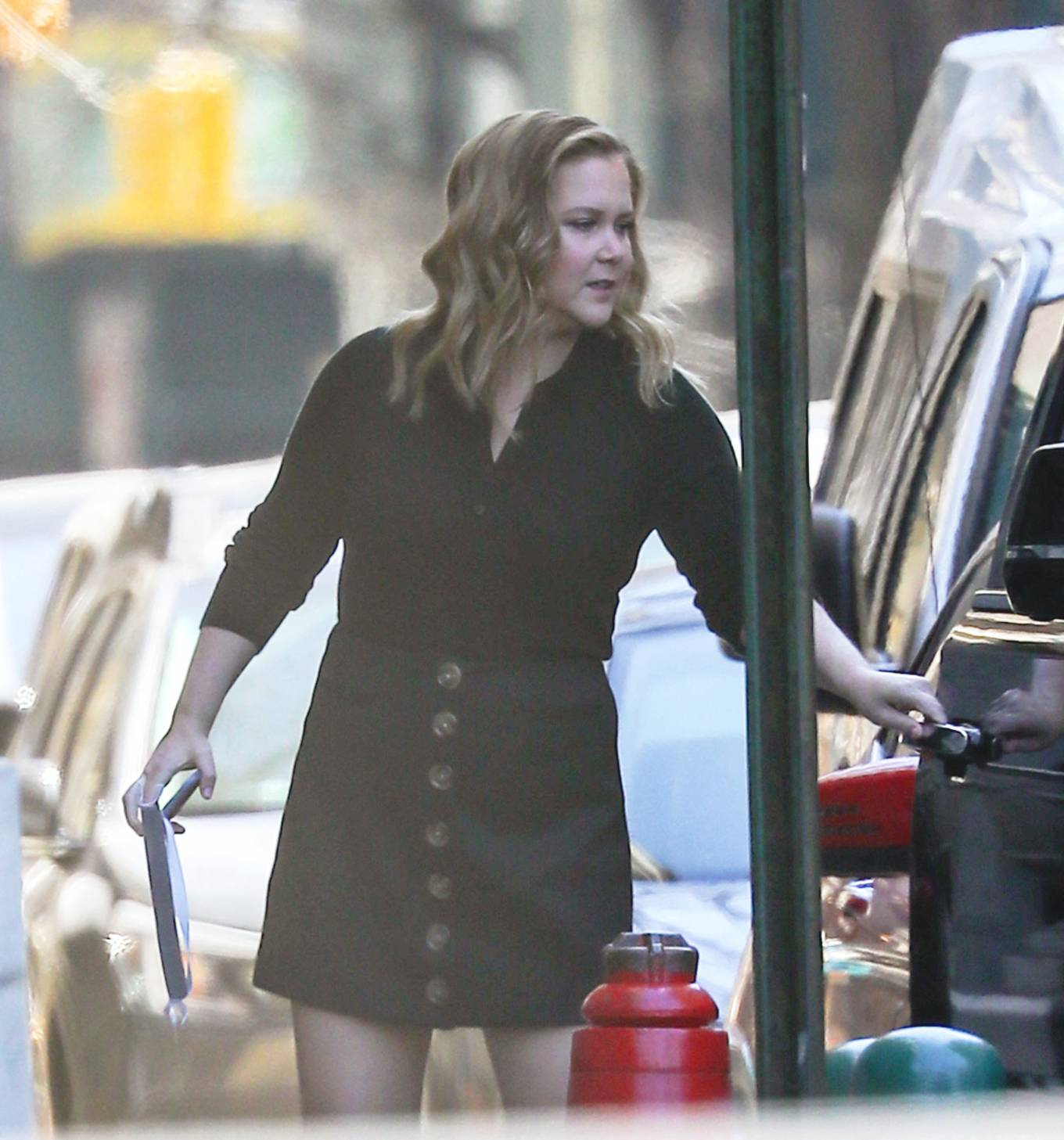 Amy Schumer 2021 : Amy Schumer – In short black button-down dress on her way to an NY Pops Up event in Manhattan-03
