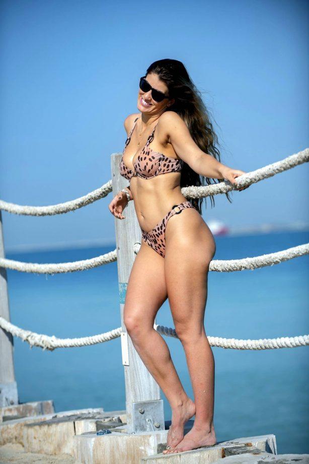 Amy Willerton - Bikini candids at a Beach in Dubai