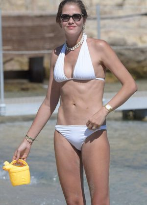 Ana Beatriz Barros in White Bikini at a beach in Mykonos