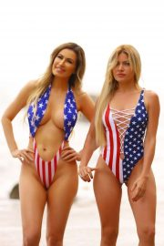 Ana Braga and Simona Papadopoulos in Swimsuit on the beach in Malibu
