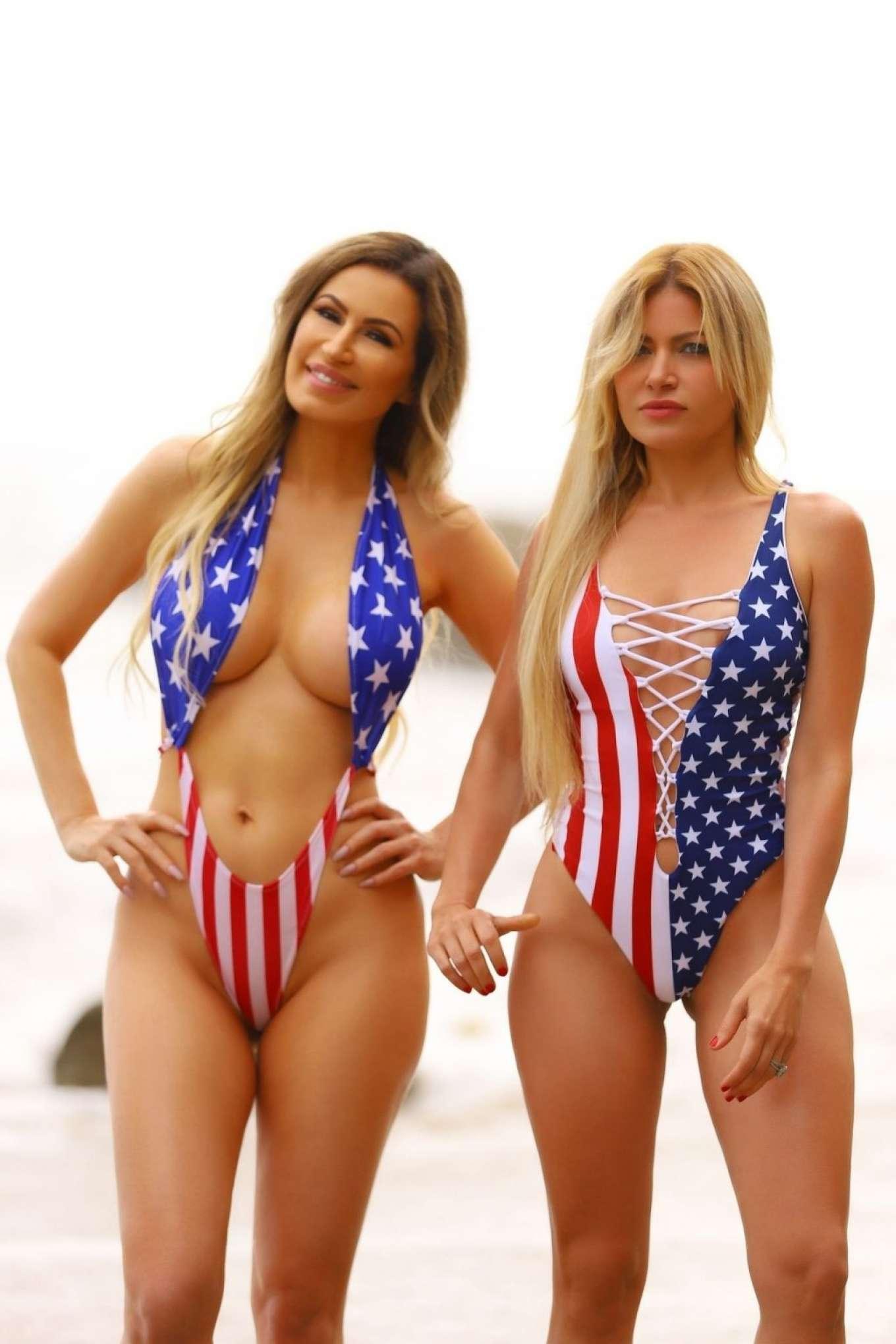 Ana Braga and Simona Papadopoulos in Swimsuit on the beach in Malibu