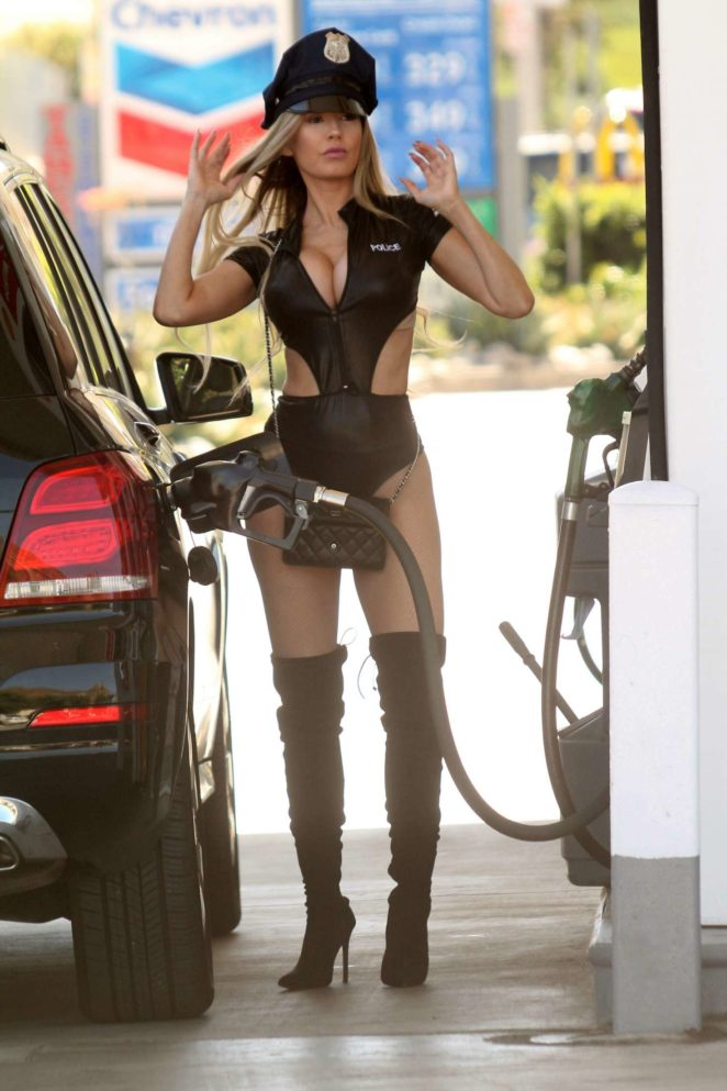 Ana Braga getting gas in Studio City