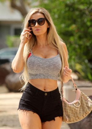 Ana Braga in black tiny shorts out in Los Angeles