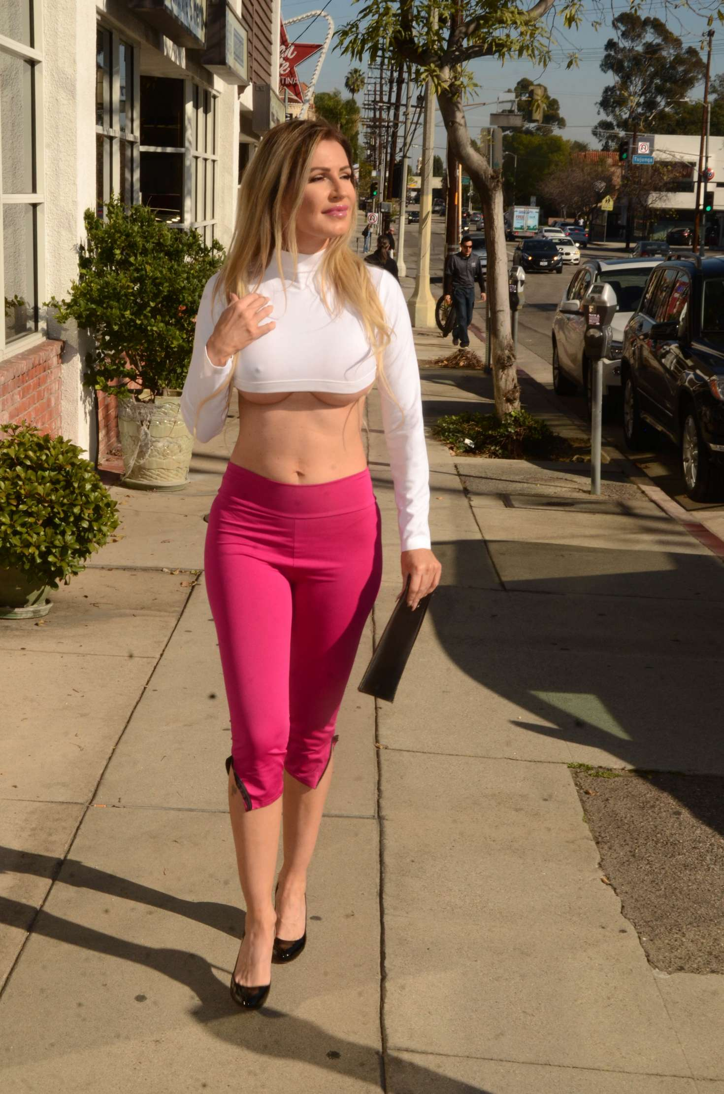 Ana Braga in Pink Pants out shopping in Studio City
