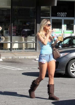 Ana Braga in Short Shorts Out in Studio City