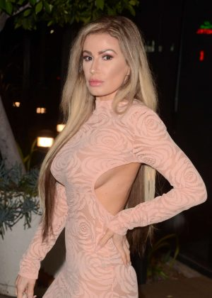 Ana Braga in Tight Dress at Craig's Restaurant in West Hollywood