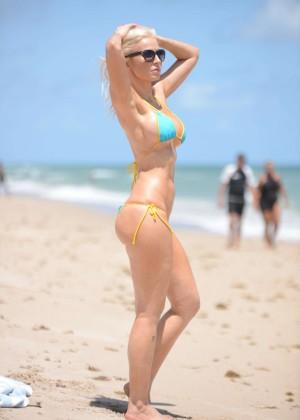 Ana Braga in Tiny Blue Bikini -01