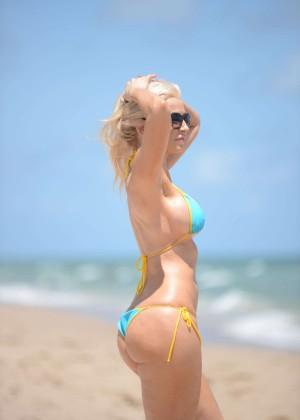 Ana Braga in Tiny Blue Bikini -06