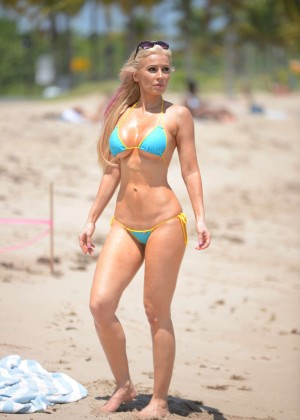 Ana Braga in Tiny Blue Bikini -07