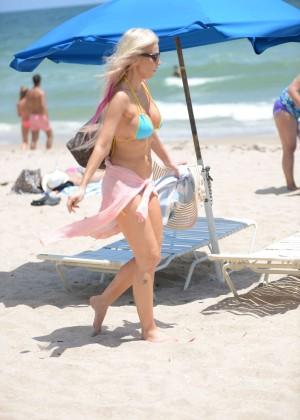 Ana Braga in Tiny Blue Bikini -10