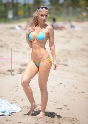 Ana Braga in Tiny Blue Bikini -12