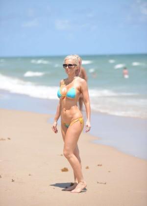 Ana Braga in Tiny Blue Bikini -13