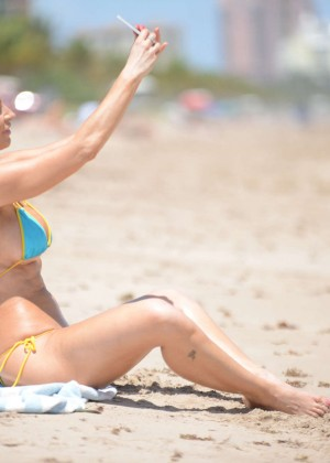 Ana Braga in Tiny Blue Bikini -14