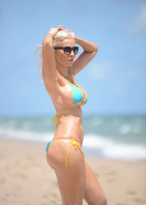 Ana Braga in Tiny Blue Bikini in Miami