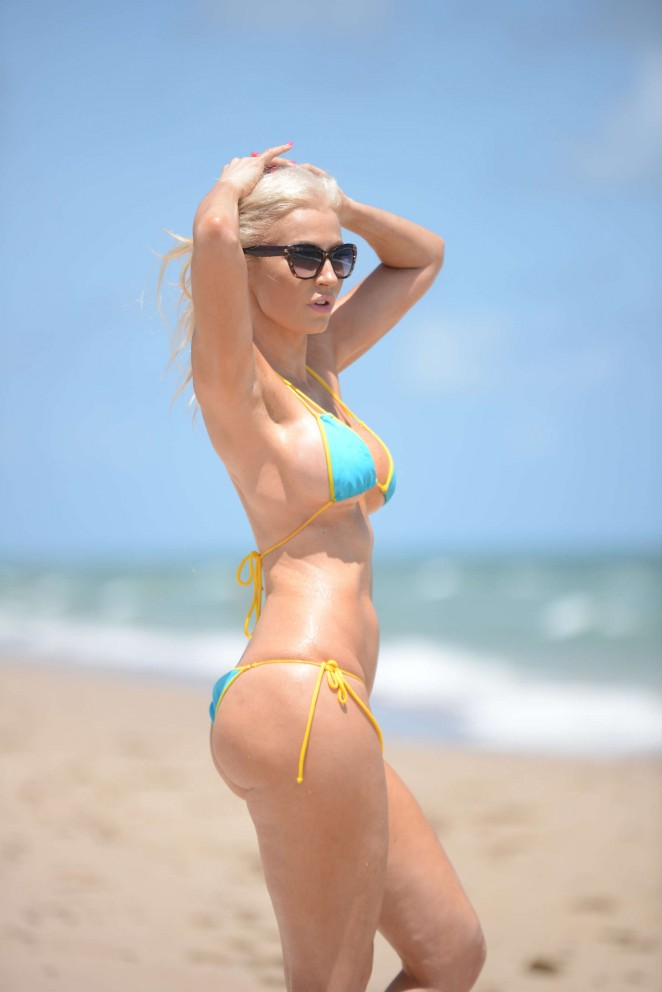 Ana Braga in Tiny Blue Bikini in Miami