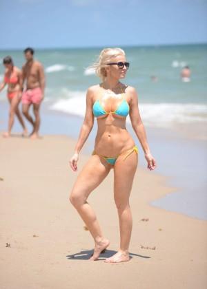 Ana Braga in Tiny Blue Bikini -29