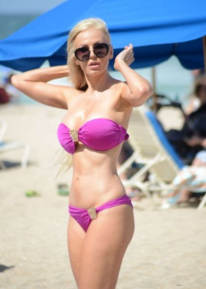 Ana Braga in Pink Bikini on Miami Beach