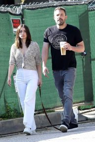 Ana de Armas and Ben Affleck - Walking her dog in Pacific Palisades