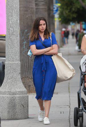 Ana de Armas in Blue Dress - Shopping in Venice