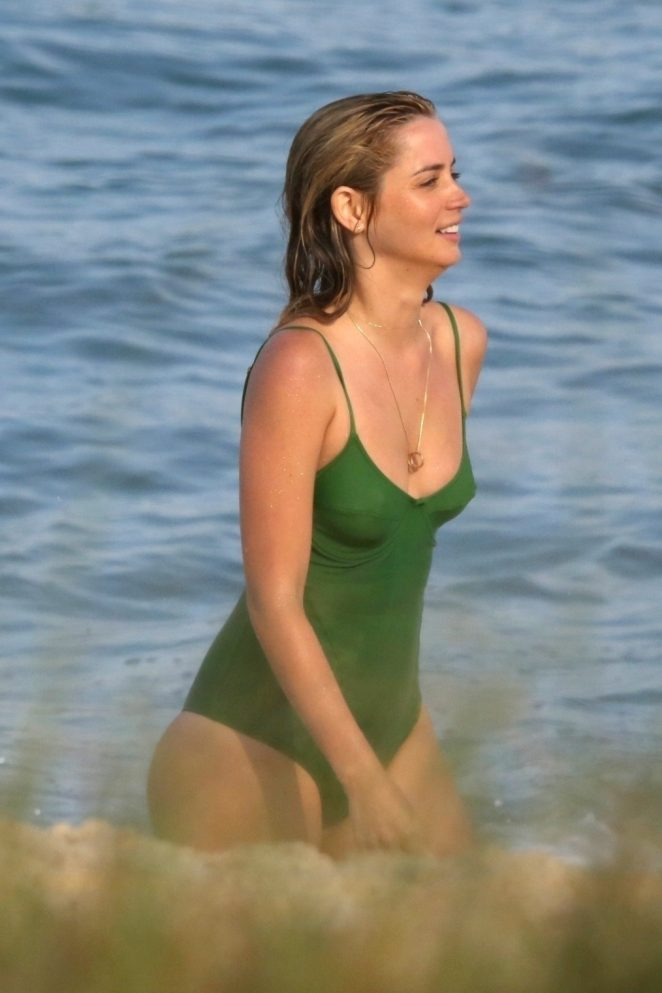 Ana de Armas in Green Swimsuit - Filming for an unnamed project in Rio de Janeiro