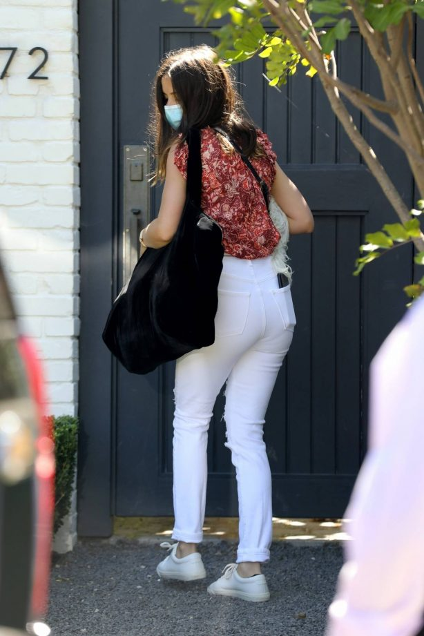 Ana de Armas - In white denim leaving Ben Affleck home