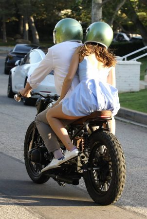 Ana De Armas with Ben Affleck - Cruise on cafe racer BMW motorcycle in Brentwood