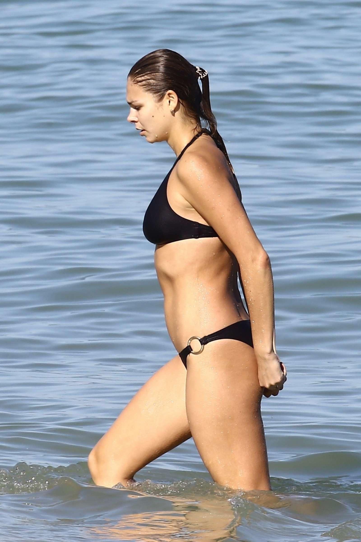 Ana Galkova in Black Bikini at the beach in Miami